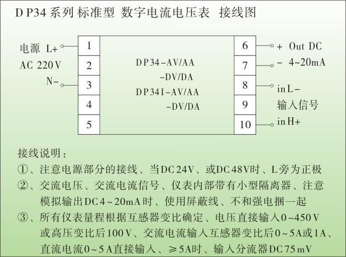 一、DP34数字电流表,电压表技术参数 1、测量参数:交流电压、交流电流、直流电压、直流电流、三相电压、三相电流 变频器输出(DC 4~20 mA、或 DC 0~10V)、 传感器输出(DC 0~200mV、0~1V、0~5V、0~10V、0~20mA 等) 2、电网制式:单相、包括直流系统、三相 3、输入信号:交流电流、 互感器变比后输入 AC 0~5 A 或 0 ~ 1A 交流电压、直接输入AC 0~450V、或高压变比后 AC 0~100V、 直流电流、 ≤ DC 5 A、直接输入、≥