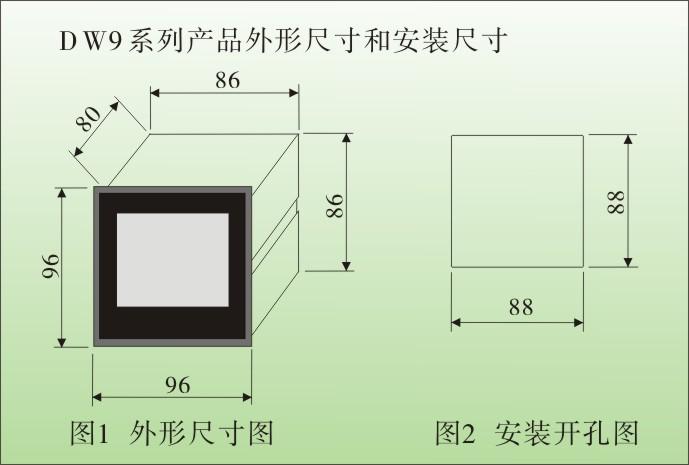 一、DW9智能三相电流表,三相电压表技术参数 1、测量参数:交流电压、交流电流、直流电压、直流电流、单相有功功率、三相有功功率(3P3L、3P4L) 单相无功功率、三相无功功率(3P3L、3P4L)、单相功率因数、三相功率因数、工频 等 2、电网制式:单相、包括直流系统、三相、3P3L 三相三线制、3P4L 三相四线制、 3、输入信号:电压0 ~ 450V、高压变比后 100V、直接输入、电流0 ~ 5 A或1A、互感器变比后输入 功率因数表:电压 50 ~ 450 V、电流 0.