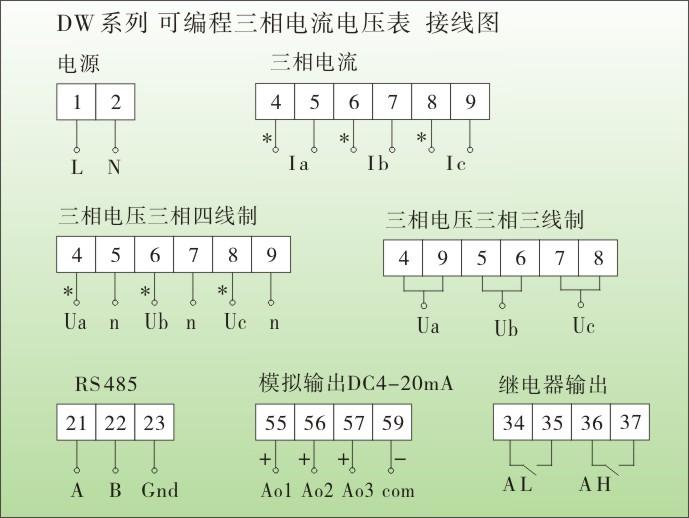 dw9智能三相电流表,智能三相电压表接线图