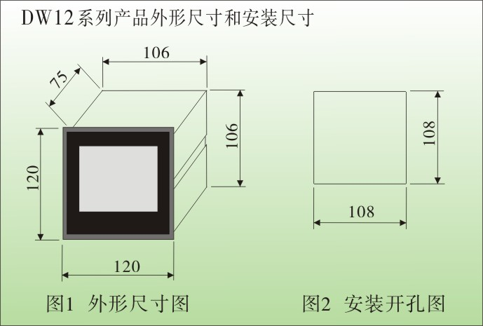 一、DW12智能三相电流表,三相电压表技术参数 1、测量参数:交流电压、交流电流、直流电压、直流电流、单相有功功率、三相有功功率(3P3L、3P4L) 单相无功功率、三相无功功率(3P3L、3P4L)、单相功率因数、三相功率因数、工频 等 2、电网制式:单相、包括直流系统、三相、3P3L 三相三线制、3P4L 三相四线制、 3、输入信号:电压0 ~ 450V、高压变比后 100V、直接输入、电流0 ~ 5 A或1A、互感器变比后输入 功率因数表:电压 50 ~ 450 V、电流 0.