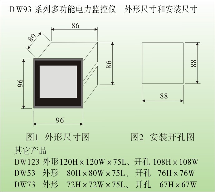 DW93-KWH5000三相多功能电力仪表外形尺寸