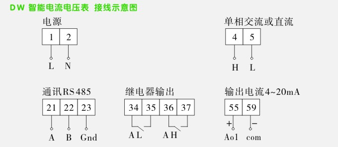 松野电气是专业生产交流电压表,DW16数字电压表,电压表的厂家,隔离技术,性能稳定可靠,抗干扰能力强,10年以上数字电压表生产经验,免费热线:400-027-0806. 一、交流电压表,DW16数字电压表,电压表特点: 1、智能交流电压表、DW16AV数字电压表,监测电力系统的电压。 2、四位LED数码管显示, 3、产品输入、输出、电源三者之间相互隔离,增强了产品的抗干扰能力,稳定性和可靠性高。 4、可选择带4-20mA变送输出,或选择带RS485通讯,MODBUS协议。 5、外形尺寸160W*80H,开