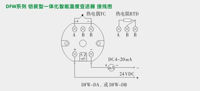温度变送器模块,dfw高精度温度变送器接线示意图