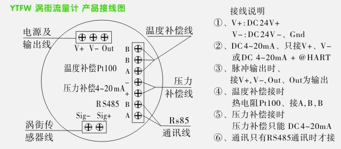 ④,温度补偿时:三线制热电阻pt100,接a,b,b   ⑤,压力补偿时:压力