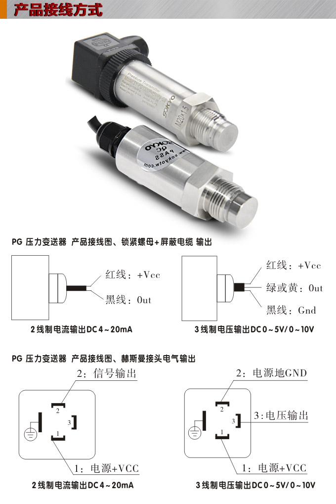 松野电气是专业生产压力传感器,PG1300P平膜压力变送器的厂家,台湾技术,进口传感元件,精度高,温漂小,抗变频干扰能力强,免费热线:400-027-0806. 一、压力传感器,PG1300P平膜压力变送器特点: 1、松野电气是专业生产PG压力变送器,防爆压力变送器,带通讯压力变送器,汽车专用压力变送器的厂家, 2、多种外形结构:标准型、工业型、高温型、精密型、平膜型、空调专用型、清洁平面型、环境净化型等。 3、多种输出方式选择:两线制电流4-20 mA、电压0-5V、1-5V、0-10V、0.