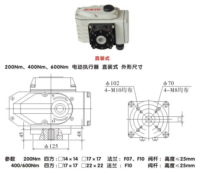 电动执行机构,ytdg-rkb600电动执行器,电动头结构图,直装式