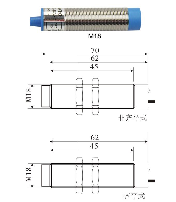 松野电气是专业生产电容式接近开关,TY电容式接近开关,接近传感器的厂家,台湾技术,20年生产经验,防水防油,抗干扰能力强,免费热线:400-027-0806. 一、电容式接近开关,TY电容式接近开关,接近传感器特点: 1、频率响应快、使用寿命长、动作可靠、抗干扰能力强、具有耐振、耐腐蚀、防水性能好特点。 2、感应非金属材料。 3、圆柱形结构,直径小,φ18或φ30.